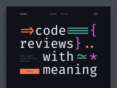 Recodio Website Concept uiux developer code web dev web development webdesign web ui design ui