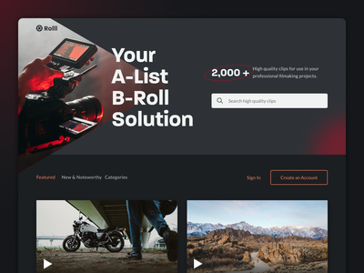 Rolll Clips video ux b-roll web designer uidesign uiux ui design web brand identity webdesign