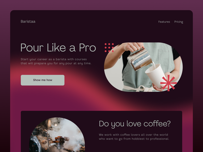 Barista Training design app branding brand identity pourover espresso coffee uidesign ui web design website design website web