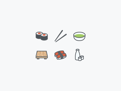 Sushi Icons sushi icons chopsticks sake board tea food fish amazing