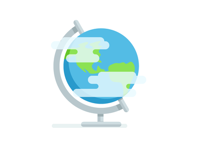 Around the Globe globe travel icon world stand education clouds illustration