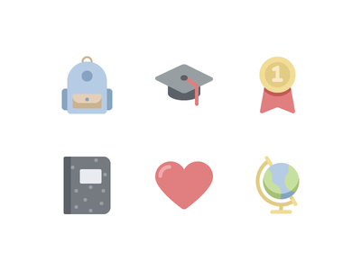 Happy Education (now available) product globe heart notebook medal graduation backpack set icons school