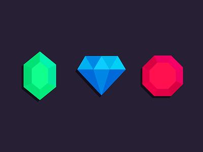 Treasure emerald ruby value diamond gem icons