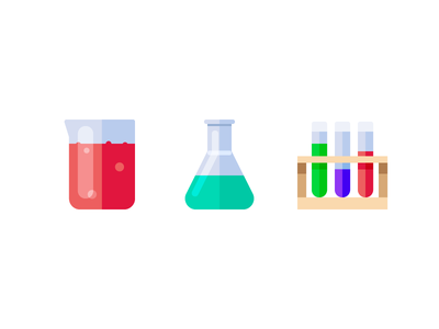 Chemistry research. science test tubes flask beaker chemistry color