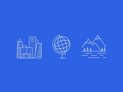 Global Locations web interface ui globe cityscape city landscape icons