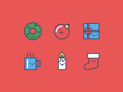 Christmas Icons stocking candle mug gift ornament wreath holiday winter christmas