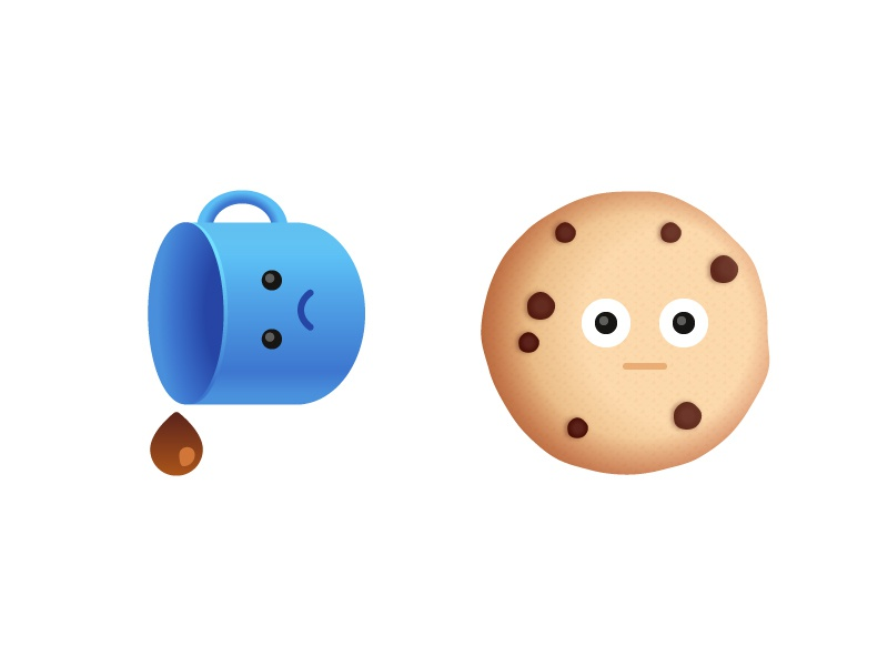 Snack Buddies 02 vector sad shock cookie coffee stickers ios emoji food