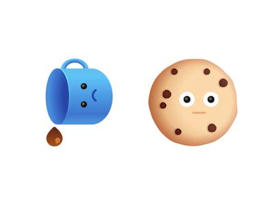 Snack Buddies 02 vector sad shock cookie coffee stickers ios emoji food