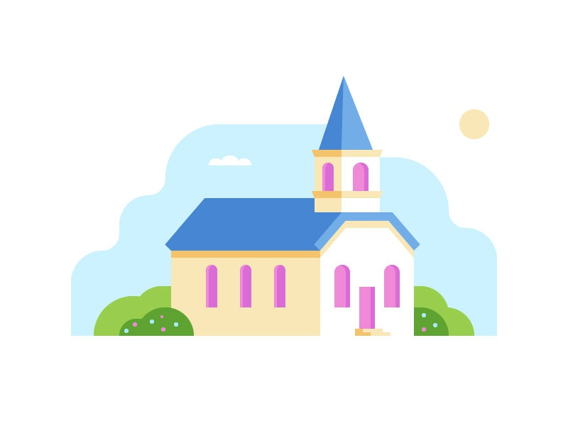 Happy Easter! dimensional building landscape illustration church easter