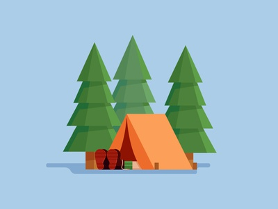 Relaxing In The Woods illustration camping relaxing sleeping tent forest woods trees