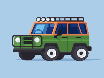Forest Exploring vehicle illustration suv off road forest explore