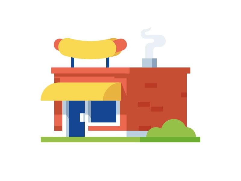 Hot Dog Bistro illustration building store shop bistro restaurant hot dog