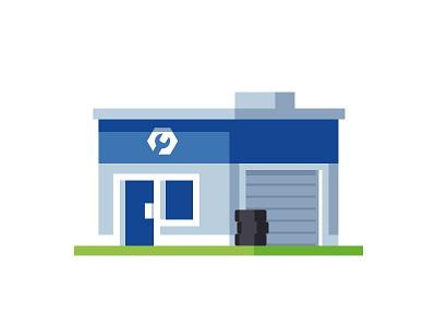 Tire Shop illustration mechanic repair auto building shop tires