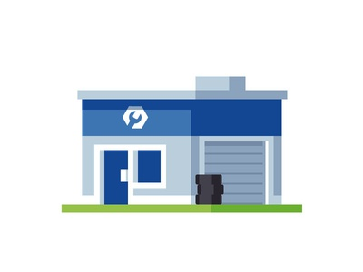 Tire Shop illustration mechanic repair auto building shop tires