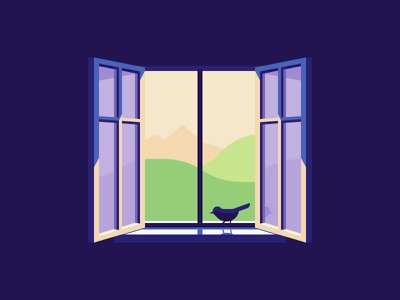 A New Day is Here illustration contrast lighting perspective fresh air nature bird window