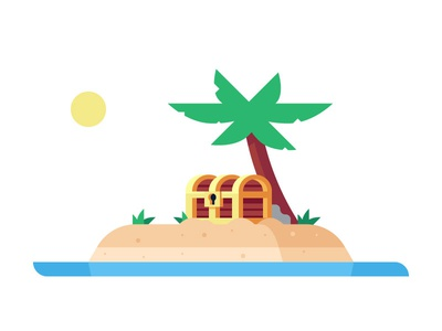 Pirate Island palm illustration tutorial treasure treasure chest island pirate