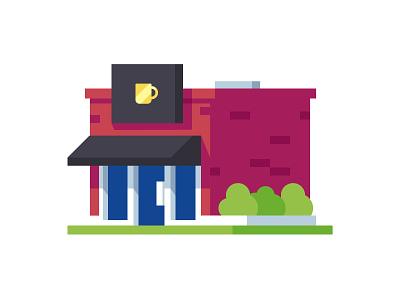 Coffee Shop illustration building coffee coffee shop