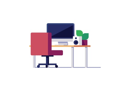 A Quiet Place to Work office illustration work tutorial video how to desk