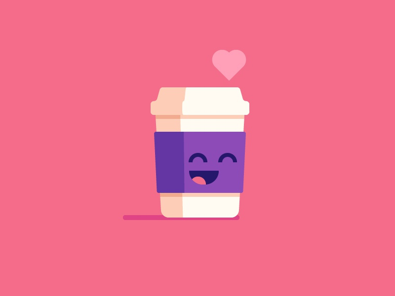 Cute Coffee illustration happy love coffee cup cute coffee