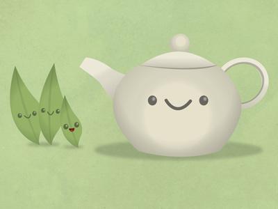 Time For Tea tea leaves teapot illustration happy cute fun