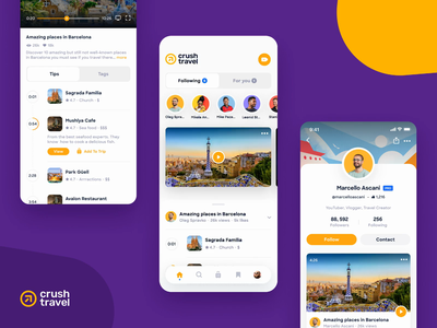 Crush Travel Application product design user interface travel booking adventure animation animated app app design application ux design ui design ui  ux ux ui