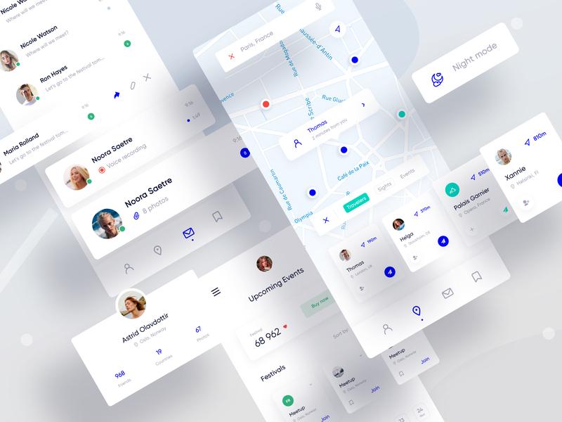 App Interface Elements map social mobile web ux user interface user experience ui navigation minimal interface design app