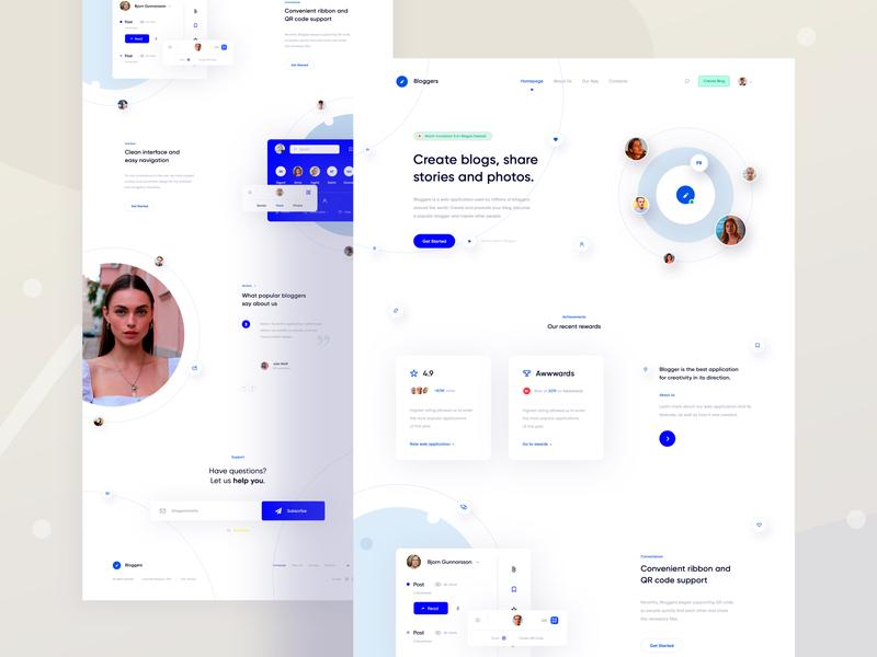 Landing Page Design clean landing page landing webdesign social desktop web ux ui minimal interface design app