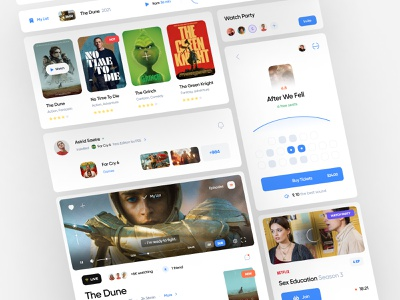Movies and Games UI Components cinema cards clean social games movies films ux design ui design web app dashboard components web design web ux ui minimal interface design app