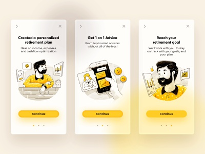 Insurance Onboarding illustration glass clean yellow character ux ui