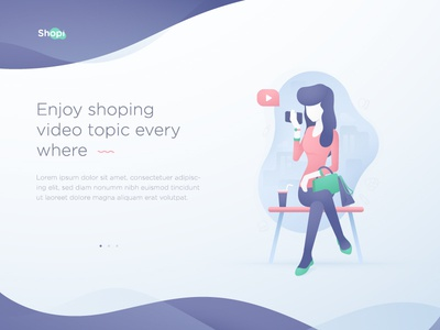 Shopi illustration ui ux gradient vector feminin inspiration character woman shoping illustration concept illustration flat illustration flat design