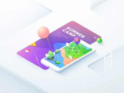 Summer Camp Raja Ampat Shot android colors iphone ux flat illustration illustration concept design isometric vector gradient ui