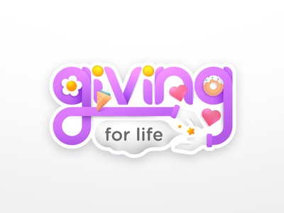 power of giving design charity sticker mule illustration gradient purple colors sticker giving