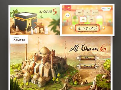 Ummi Mengaji Gui al quran splash screen game gui illustration vector education concept design art game character painting
