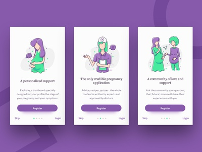 Pregnancy Diary Onboarding simple onboarding pregnancy onboarding onboarding ui purple vector pregnant character baby illustration flat illustration flat design