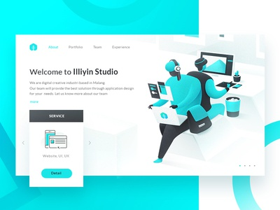 Illiyin Studio Dashboard Exploration dekstop ux design ux ui design dashboard design ui gradient character creative studio design creative studio illustration flat design