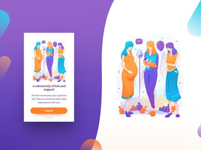 Mom life illustration Onboarding flat design flat illustration illustration baby character pregnant vector purple ui onboarding mom life onboarding simple onboarding