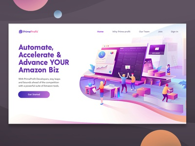 Amazon software management tool landing page concept graphic design inspiration gradient vector flat character online shop ux ui flat design character flat illustration amazon software concept management tool illustration landing page amazon