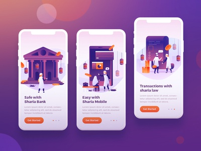 Finance Sharia Onboarding illustration character flat design vector islamic banking finance gradient flat mobile onboarding sharia ux design concept ui illustration