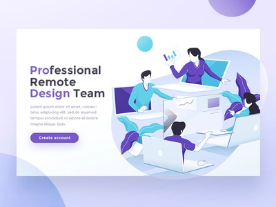 Remote Design Team Hero Landing page work team business comunication purple gradient company design inspiration flat character flat illustration teamwork ux ui landing page character vector design team gradient flat design illustration