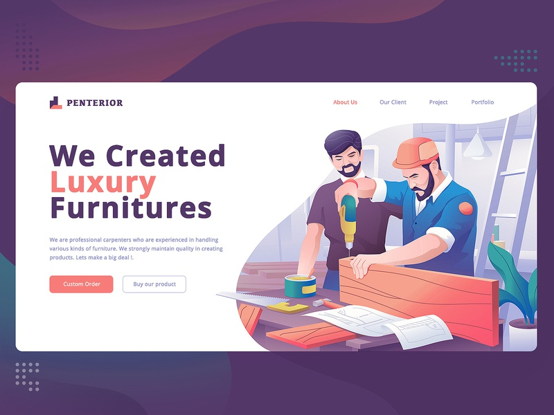 Carpenter Landing page Hero Illustration idea branding inspiration team work furniture vector flat design ux ui gradient company character flat illustration landing page hero illustration carpenter