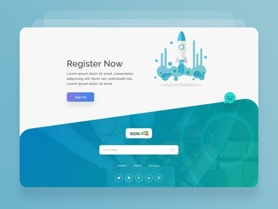 Magna-Bid_Footer_Register-UI rocket register colors signup footer style illutration flat icon minimlaistic typography design logo illustration ui app clean minimal ux web ui ux web ui