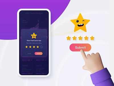 Rating Dialog UI app rating rate app feedback review widget star rating rating widget rating dialog rating app vinodkumarpalli design modern illustration ux ui icons clean minimal