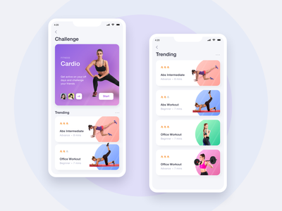 Fitness App - Mobile UI body workout young gym workout ios app mobile app colors stamina fitness club gymnasium fitness mobile app ui ux workout app gym fitness yoga design modern clean minimal
