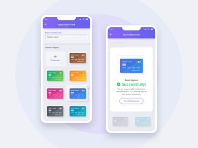 Apply Debit-Card UI mobile app design neumorphic design neumorphism ui debit card status funds management app internet banking mobile banking finance apply debit card apply credit card credit card status banking application ios app mobile app design modern ux ui clean minimal