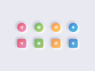 Neumorphic Icons icon shapes neumorphic icons rgb colors elegant mobile icon set app icons web icons iconset 3d icons neumorphism neumorphic design design colors illustration modern icons ui ux clean minimal