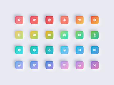 Neumorphic Icons / Color Palette app icons iconset dark ui light ui iconography glossy icons 3d icons color palette icons set neumorphism ui neumorphic design vinodkumarpalli colors illustration icons modern ui ux clean minimal