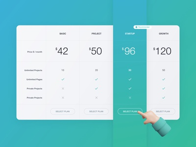Pricing UI recommended features pricing comparision table price comparison price table price list pricing plans pricing table pricing plan pricing page pricing cards pricing ui cards vinodkumarpalli colors design ux ui clean minimal