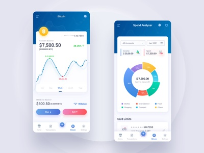Fintech Bitcoin Dashboard UI card usage bankingapp fintech dashboard ui buy and sell bitcoin ui spend analyzer pie charts multicolor icons mobile ui ux dashboard material vinodkumarpalli modern ux ui clean minimal