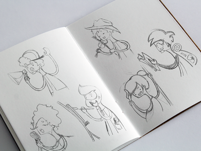 Character sketches illustration character interface flat app sketchbook cartoon drawing sketch