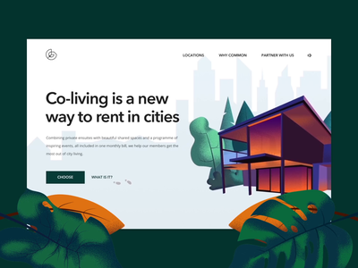 Greeny Two web coliving illustration ui concept motion animation after effects